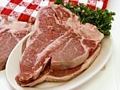 Two T-Bone Steaks on a Platter