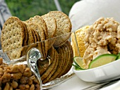 Crackers with Shrimp Dip and Peanuts