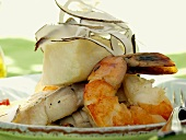Caribbean Shrimp and Halibut in a Coconut Sauce