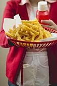Chips in plastic basket