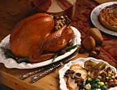 Stuffed Roast Turkey; Sliced Turkey Dinner Plate