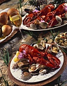 Boiled Lobster Dinner with Rolls and Wine