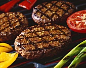 Hamburgers and Vegetables on the Grill