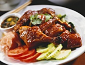 Glazed Asian Style Chicken with Cucumber and Tomato