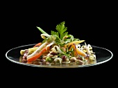 Bean salad on glass plate