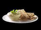 Herb quark and sesame crispbread