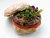Venison burger with rocket