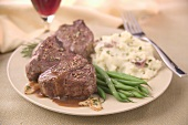 Lamb Chops with Gravy, Green Beans and Mashed Potatoes