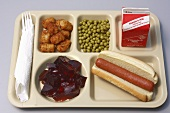Childs School Lunch on Tray; Hot Dog