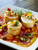 Stuffed Calamari with Vegetable and Pine Nuts in Tomato Sauce