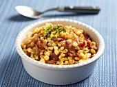 Corn Salad with Carmelized Onions, Sausage and Scallions