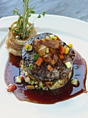 Beef Fillet on Vegetable Timbale with Greek Potatoes and Fried Onions