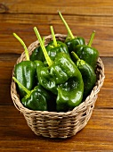 Poblano Peppers in a Basket