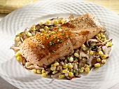 Salmon Fillet Over Corn and Mushroom Saute