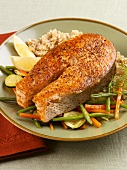 Peppered Salmon Steak with Vegetables and Brown Rice