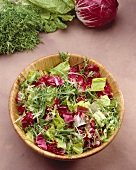 Mixed Greens and Radicchio Salad in Wooden Bowl; From Above