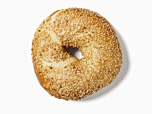 A sesame bagel, seen from above