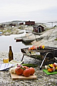 Kebabs on a barbeque on a rocky beach in Scandinavia