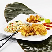 Fried monk fish with mie noodles and apple chutney