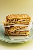 Toasted sandwiches with turkey ham
