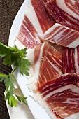Spanish ham, cut into pieces