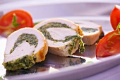 Chicken roulade with a pesto filling