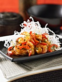Fried shrimps with chilli strips