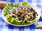 Lentil salad with mussels and onions