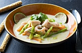 Coconut soup with salmon and prawns (Thailand)