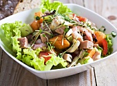 Ham salad with prawns and melon