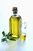 A bottle and a carafe of olive oil with an olive sprig