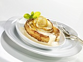 Pear tart with egg nogg
