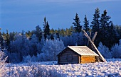 A cabin in a winter landscape