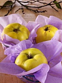 Quinces wrapped in paper