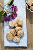 Almond biscuits and hortensia flowers