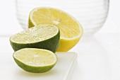 Half a lemon and half a lime