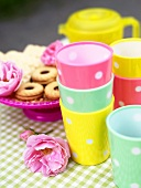 Jam biscuits and polka dot cups