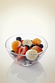 Fruit salad in a glass bowl