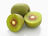 Chinese kiwis, whole and halved