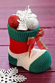 A Christmas stocking with decorations