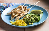 Chicken kebabs with sweetcorn and guacamole