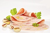 Ham sausage with pistachios