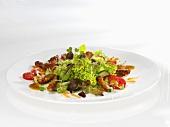 Frühlingssalat mit Putenbruststreifen und Tomaten
