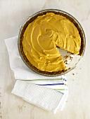 Mango Ice Cream Pie with Slice Removed