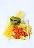 Spaghetti, green tagliatelle, pipe rigate, orecchiette and lasagne