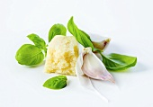 Grana Padano cheese, basil and garlic