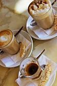 Various coffee specialities