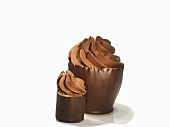 Chocolate bowls with a cream filling