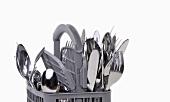 A cutlery basket