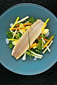 Poached trout fillet with root vegetables and herbs